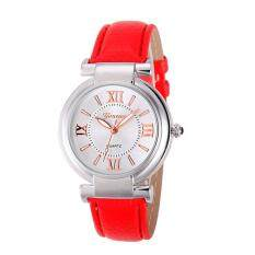 Geneva Ladies Fashion Leather Band Quartz Watch Womens Casual/ Business Stainless Steel Case Watch (Red) Malaysia