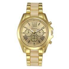 Geneva Mens Watches Alloy Card Steel Belt Watch Fashion Quartz Watch - Rice Gold Malaysia