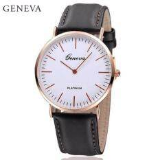 Geneva Minimalism Leather Wristwatch Fashion Womens & Mens Watch (Black) Malaysia