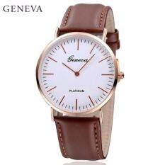 Geneva Minimalism Leather Wristwatch Fashion Womens & Mens Watch (Brown) Malaysia