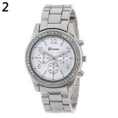 Geneva Steel Belt Elegant Diamond Quartz Watch Womens Watch (Silver) Malaysia