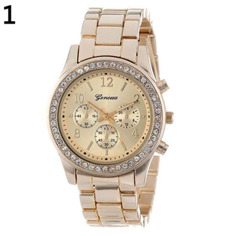 Geneva Steel Belt Elegant Diamond Quartz Watch Womens Watch(Gold) Malaysia