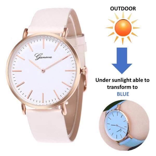 Geneva Women Thermochromic Temperature Change Color Watch Leather Watch Simple Ladies Casual Wrist Quartz Watches - (Transformation Blue) Malaysia