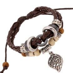 Genuine Leather Bracelet Mens Bangle Stainless Steel Fashion Retro Anchor Charm Jewelry For Women Brown By Shenzhen Maiyougou.