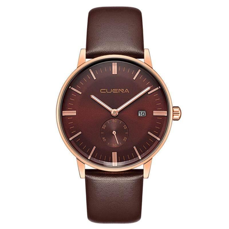 Genuine Leather Watch Men Women Sub-Dial Date Quartz Analog Wristwatch (Coffee + Golden + Coffee) Malaysia