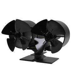 GOFT F260 4 Blades Double Heat Powered Stove Fans Fuel Power Saving Stove Fan Eco Friendly Fan For Home Kitchen Accessories black
