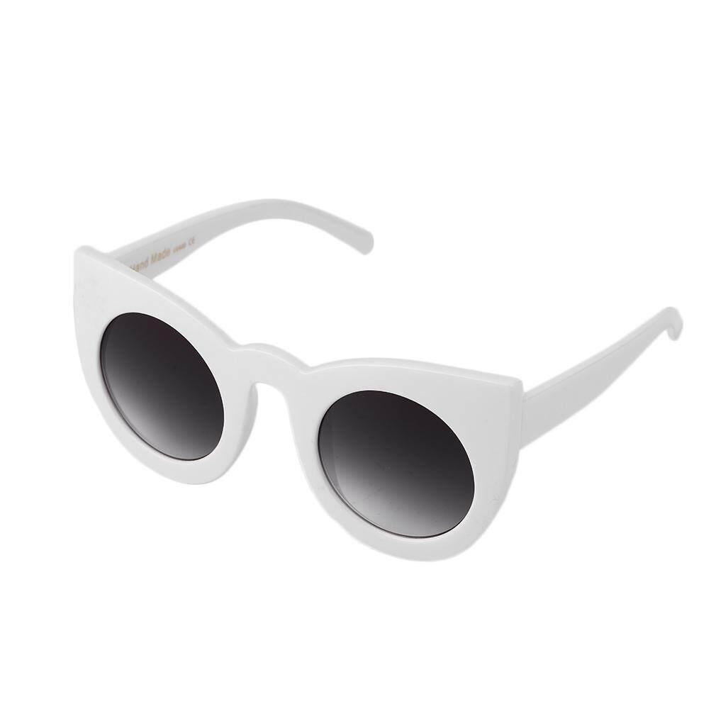 Hadiah Khusus Wanita Modis Sepanjang Kacamata Hitam Perjalanan Pantai Mata Kucing Kacamata Hitam Abu-abu Lembut (Putih)-Internasional