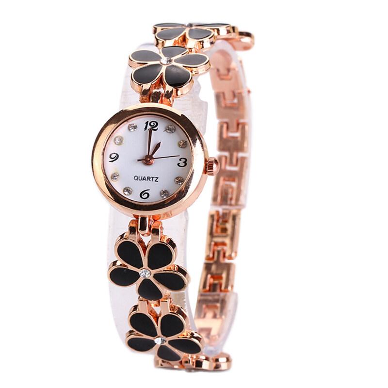 Girls Chic Fashion Flower Rose Golden Bracelet Wrist Watch Black Malaysia