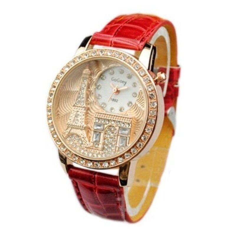 Gogoey Luxury Eiffel Tower Tour Crystalize Zirconia Stone Watch_Red Malaysia