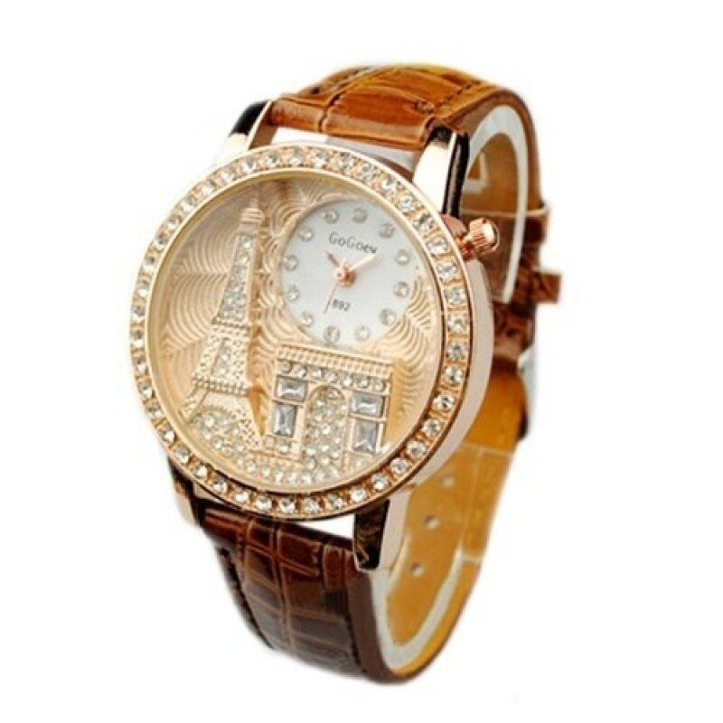 Gogoey Luxury Eiffel Tower Tour Crystalize Zirconia Stone Watch_Brown Malaysia