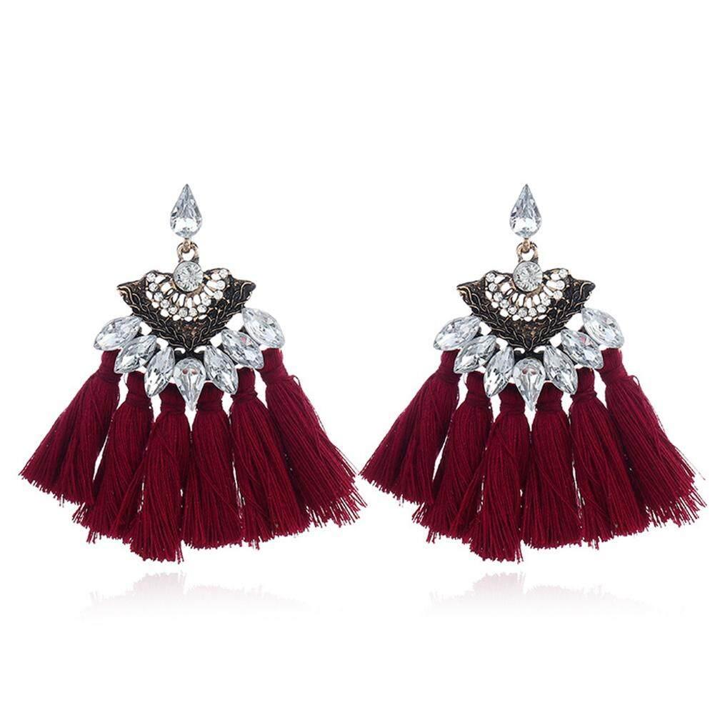 Coromosegorgeous Logam Gemstone Rumbai Anting-Anting Diamante Telinga Stud Anggrek Ornamen Natal Tahun Baru Hadiah