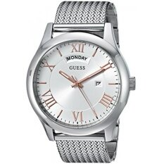GUESS Mens Quartz Rubber and Stainless Steel Casual Watch, Color:Silver -Toned