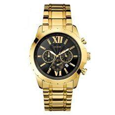 GUESS Mens U0193G1 Sporty Gold-Tone Stainless Steel Watch with Chronograph Dial and Deployment Buckle