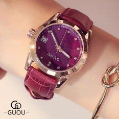 Guou Luxury Brand Day Date Genuine Leather Strap Womans Casual Quartz Clocks Lady Sports Watches Gold Wristwatch Relogio Female(Purple) Malaysia