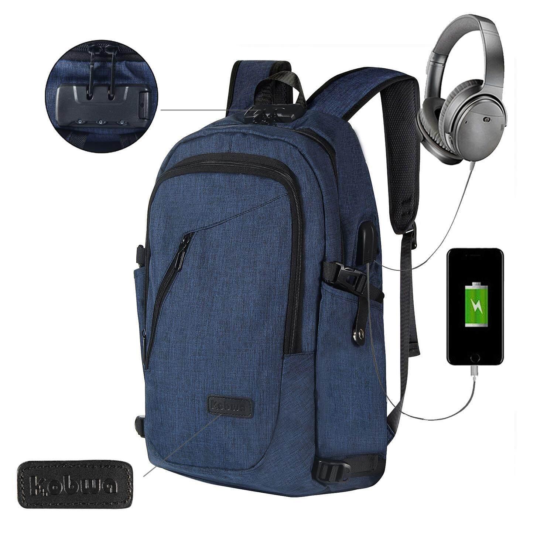 Hazyasm Bisnis Tahan Air Poliester Laptop Ransel dengan USB Pengisian Port dan Mengunci Cocok Dibawah 17-Inci Laptop dan buku Catatan (Biru) -Internasional