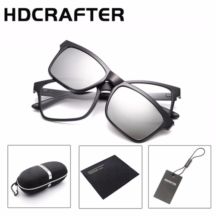 e6c3798aacf HDCRAFTER Brand Magnetic Clip Retro TR90 Sunglasses Polarized Lens Vintage  Unisex Eyewear Accessories Sun Glasses For