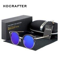 0c3601f1439e HDCRAFTER 2017 Fashion Vintage Oversized Round Lens Half-frame Retro Metal  Sunglasses High Quality Women s