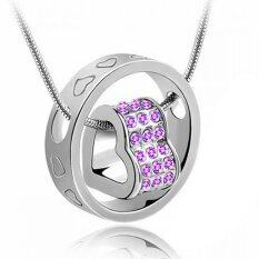 Heart Ring Crystal Rhinestone Necklace Pendant Love Gift For Wife Daughter   C 334cf527e8e9