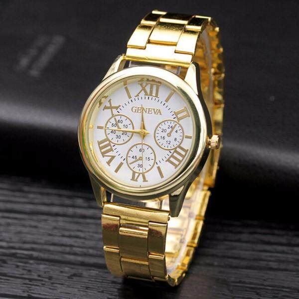 Hequ brand new chic Luxury Men Women Geneva Casual Stainless Steel Gold Roman Numerals Round Movement Quartz Wrist Watch Malaysia