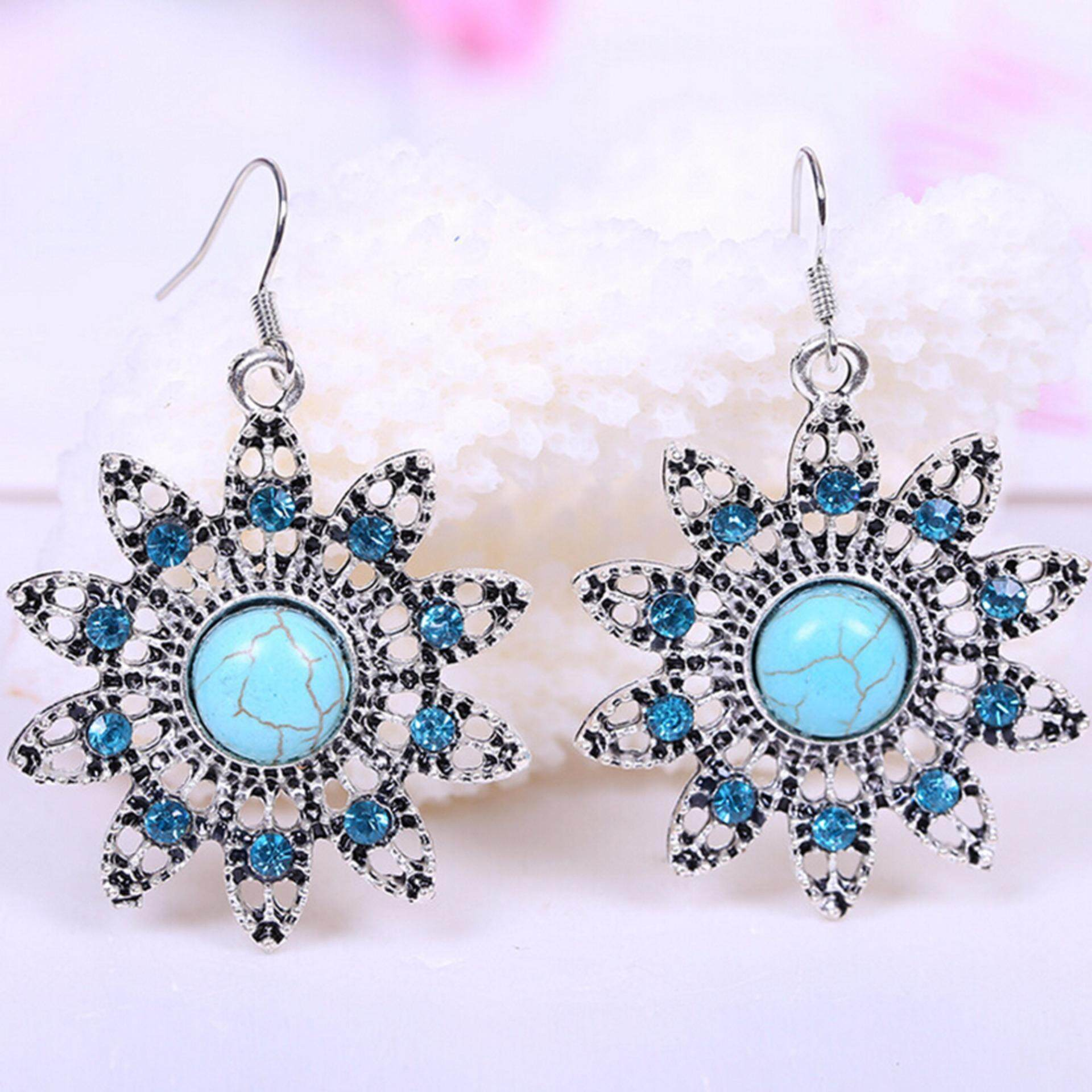 Hequ Online Shopping India Vintage Turquoise Drop Earrings Bohemia Peacock Hollow Rhinestone Brincos