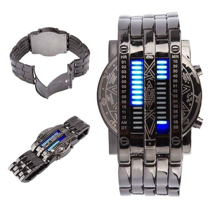 Hetu Uniseks Matrix Jam Tangan Digital 28 LED Jam Tangan Gelang Perhiasan Arloji untuk Pria Wanita-Internasional