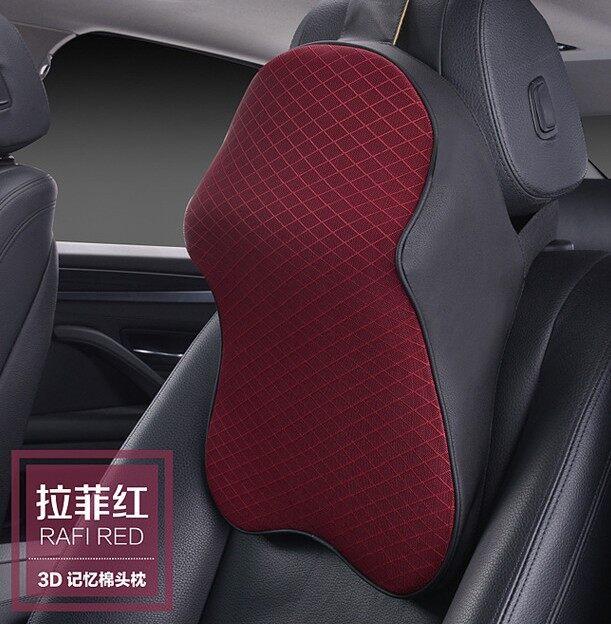 High-grade Comfortable Neck Care Car Headrest Creative 3D Car Ice Silk Memory Cotton Breathable Car Headrest Rafi red - intl