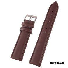 High Quality Store New 18mm/20mm/22mm Genuine Leather Wrist Watch Band Strap Stainless Steel Pin Buckle Dark Brown-22mm Malaysia