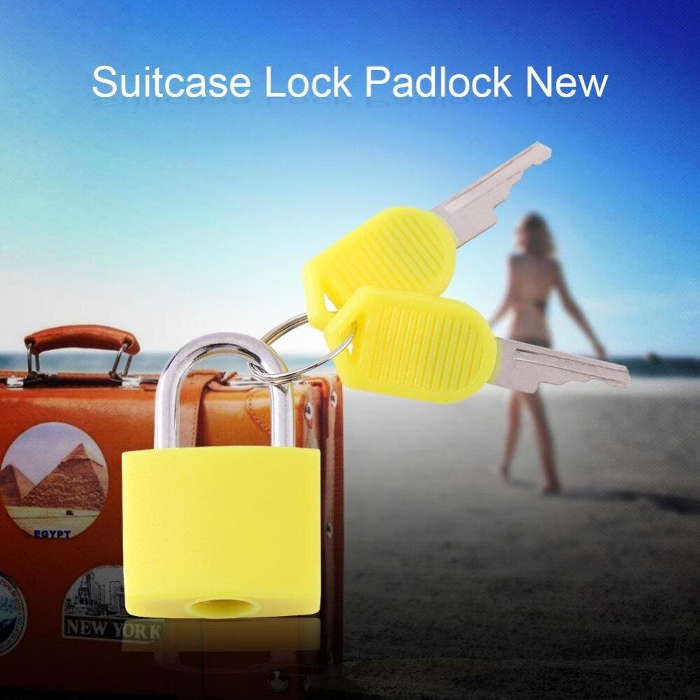 High Security Mini Lock Plastic Coated Travel Luggage Suitcase Padlock With 2 Keys (Yellow)