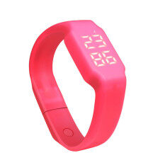 HKS 3D LED Calorie Pedometer Sportsmart Smart Bracelet Wrist Watch Unisex Red Malaysia