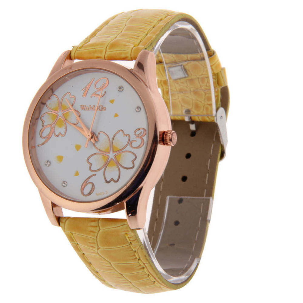 Nơi bán HUADE Hot Lady Flower Dial Round Leather PU Band Wristwatch Watch Quartz Yellow