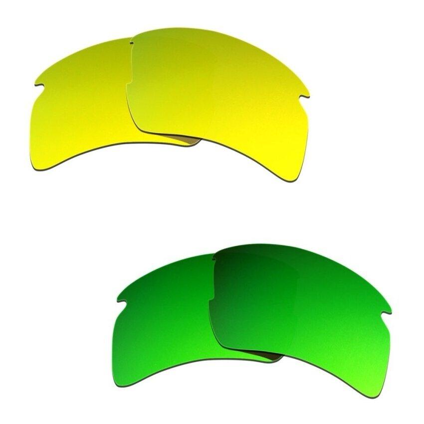 Hkuco Pria Lensa Pengganti untuk Model Flak 2.0 XL 24 Kgold/Emerald Kacamata Hijau-Intl