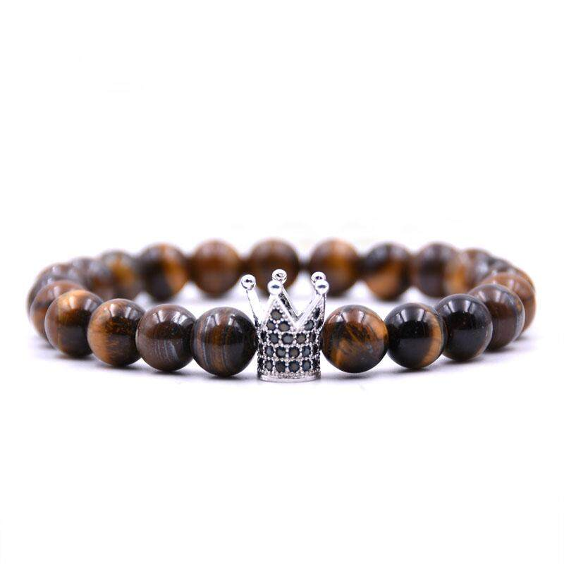 HONEYYIYI New Fashion Natural stone BraceletsBangles Men Jewelry Micro Pave CZ Crown Charms Bracelet For women pulseras