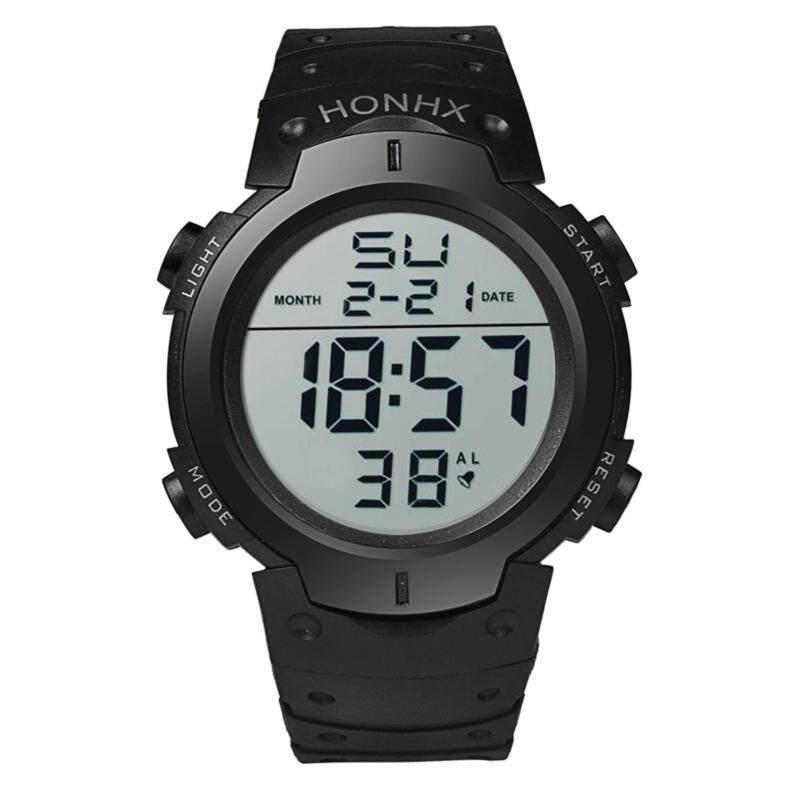 HONHX-9001-1 New Big Round Dial Digital Watch Hot Selling High Quality Sport Black Strap Silicone Watch Malaysia