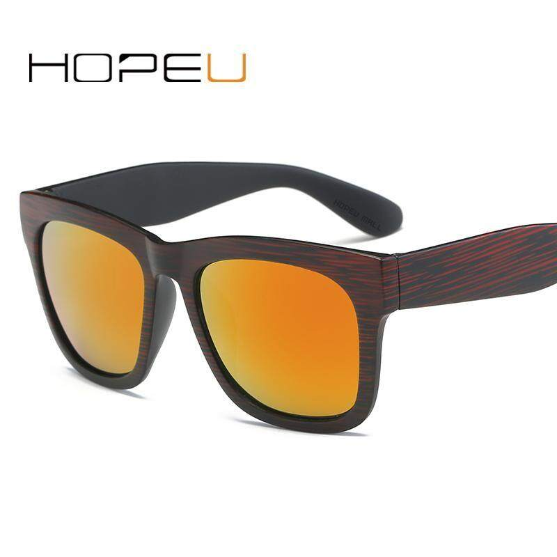 1869c68c017 HOPEU America Retro Wood Grain Frame Sunglasses Men Women Polarized  Sunglasses Men Driving Mirrors Coating