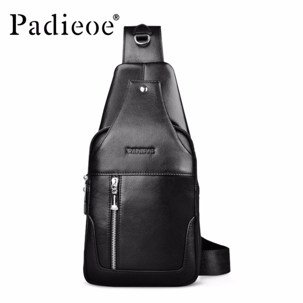 Padieoe Luxury Brand Genuine Leather Men Chest Pack Casual Fashion Men  Crossbody Bags Male Black Shoulder db7bd8157e492