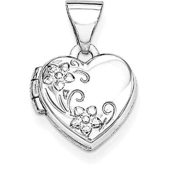 Es Karat 14 K Putih Bentuk Jantung Emas Bunga Liontin dengan Foto Pesona Kalung Rantai dengan Liontin Yang Memegang Gambar Hadiah Perhiasan Bagus Hari Valentine Set untuk Wanita Jantung -Intl