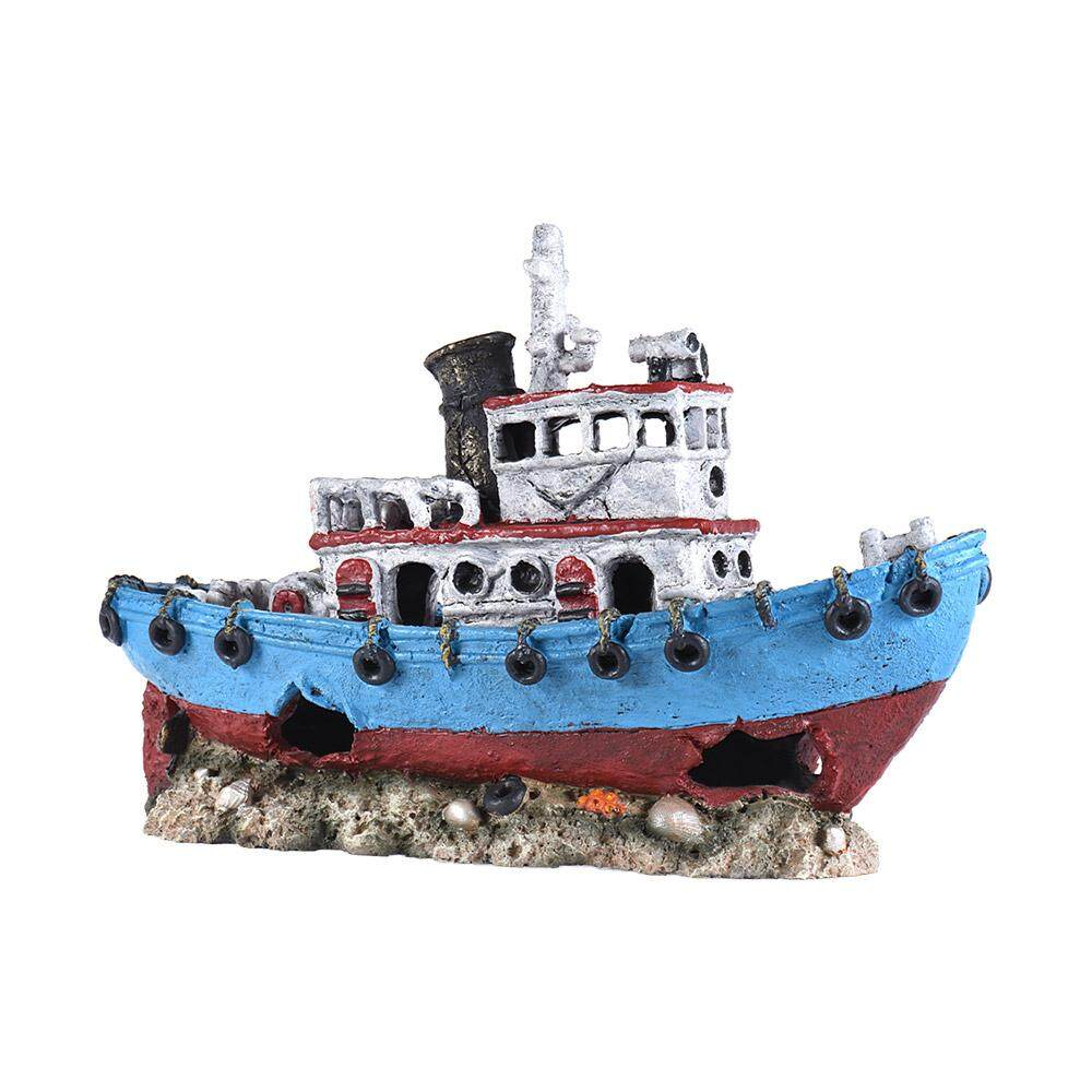 Best Imitation Shipwreck Sunken Broken Ship Rock Hiding Cave Landscape Aquarium Fish Tank Decoration Decorative Ornament Eco Friendly Resin Intl