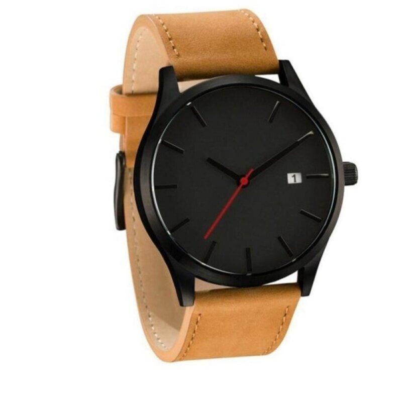 *Inspired Mens Fashion Casual Quartz Leather Wristwatch Simple Retro Design (Brown) Malaysia