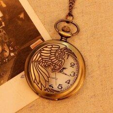 iooilyu Bronze Pocket Watch Necklace Quartz Pendant Vintage UnisexMen Women With Long Chain New Arrival (bronze) Malaysia