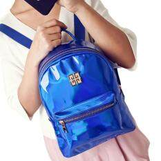 ISeason Mall Fashion Woman Girl Holographic Backpack Rucksack PU Leather Travel Bag Schoolbag Blue