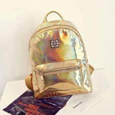 ISeason Mall Fashion Woman Girl Holographic Backpack Rucksack PU Leather Travel Bag Schoolbag Gold