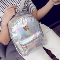 ISeason Mall Fashion Woman Girl Holographic Backpack Rucksack PU Leather Travel Bag Schoolbag White