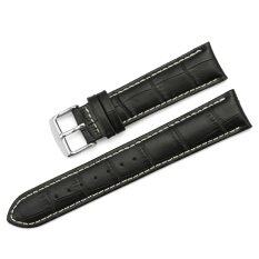 iStrap 19mm Genuine Calf Leather Watch Band Croco Grain Tan Stitch Tang Buckle - Black Malaysia