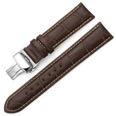 iStrap 20mm Calf Leather Stitched Replacement Watch Band Push Button Deployment Buckle Strap Brown Malaysia