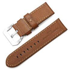 iStrap 26mm Calfskin Leather Watch Band Thick Full Grain Replacement Strap & Polished SS Pre V Tang Buckle - Brown Malaysia