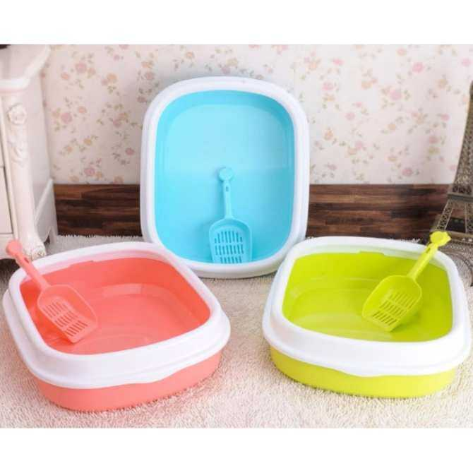 Japanese Style Pets Cat Kitten Litter Toilet Training Tray With A Scoop (Light Blue)