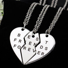 3Pieces Broken Heart Pendant Necklace Chic Best Friends Forever Necklace  Silver d2209b077fed