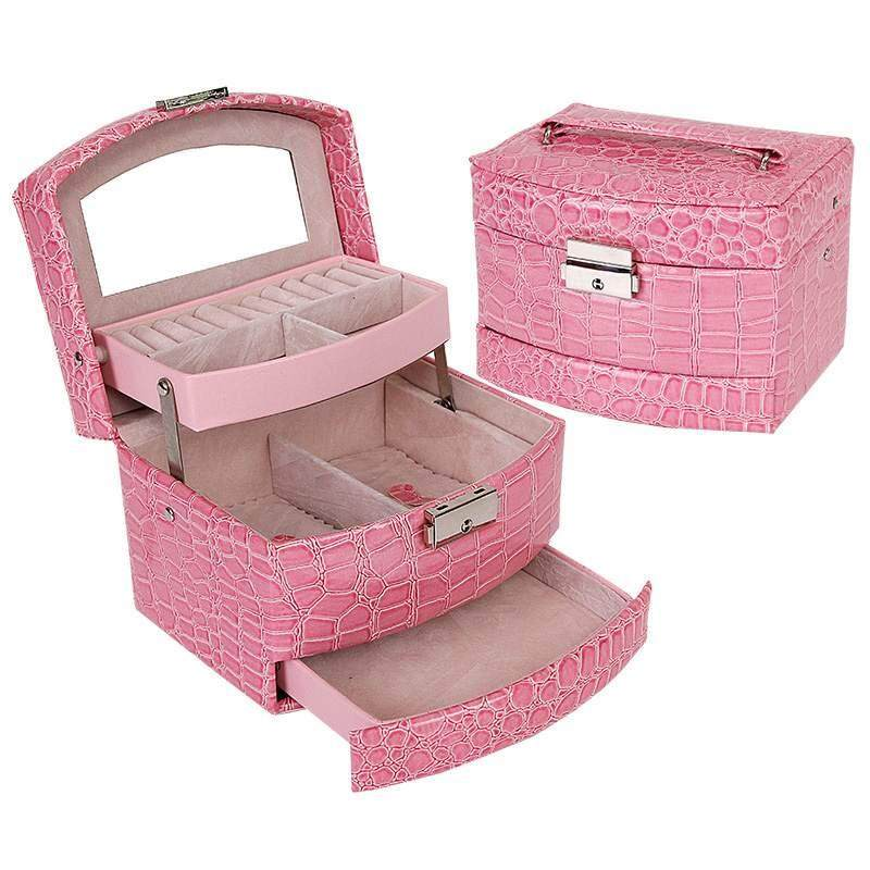 How To Buy Jewelry Box Organizer Ring Earring Necklace Mirror Display Storage Case Leather Intl