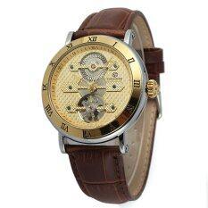 JinGle Mens Automatic Mechanical Leather Sport Wrist Watch (Gold) Malaysia