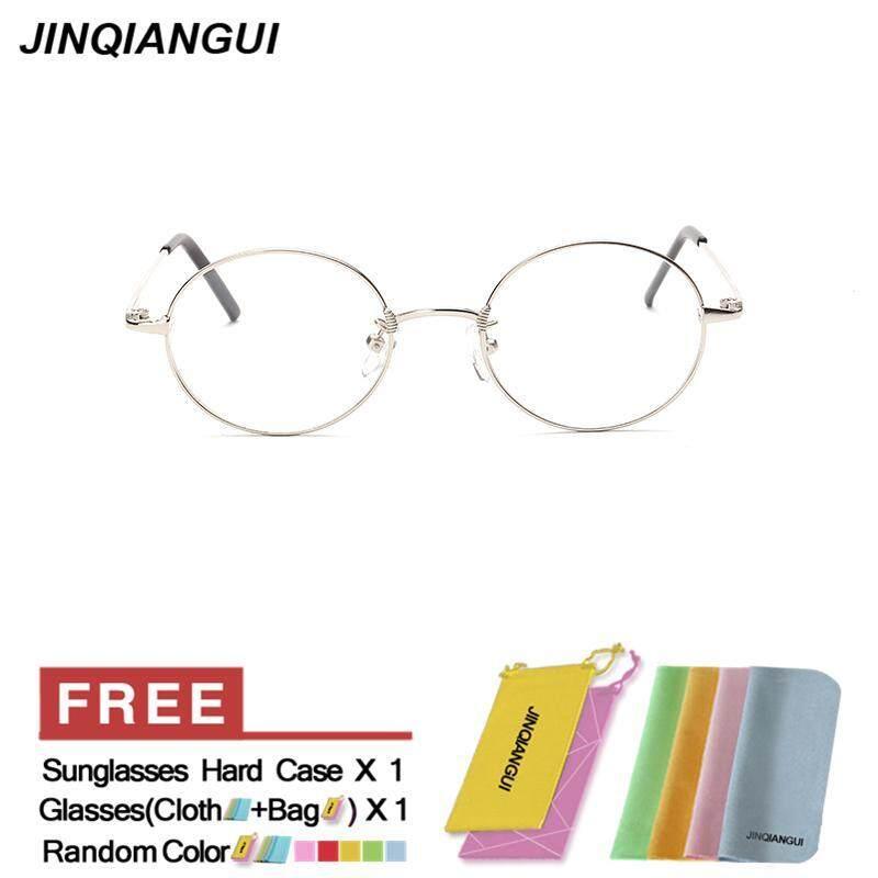3f47d044b49 JINQIANGUI Fashion Glasses Frame Oval Glasses Silver Frame Glasses Titanium Frames  Plain for Myopia Men Eyeglasses